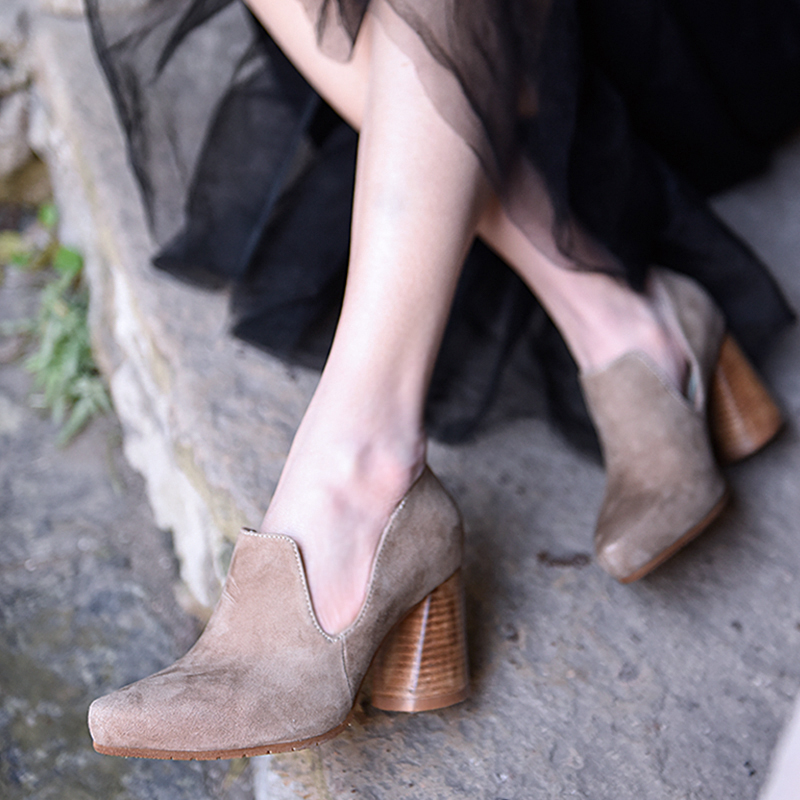 Artmu Original 2019 New Retro Thick Heels High Heels Women Shoes Genuine Leather Pointed Toe Handmade Four Seasons Shoes 15040 4-in Women's Pumps from Shoes    1
