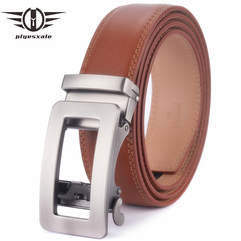 Plyesxale Brown Belt Men 2018 Luxury Cow Genuine Leather Belts For Men Top Quality Mens Auto Belt Ceinture Homme Luxe Marque G25