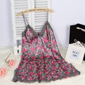 spaghetti strap sexy women's summer style Mini nightwear nightgown free shipping 2016 lace sleepwear with floral printed hot