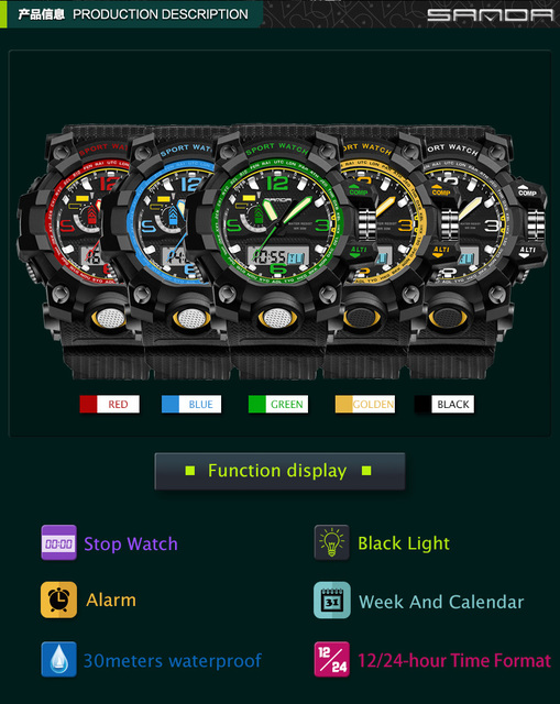 2017 G Style SANDA Clock Mens Watches Top Brand Luxury Waterproof Sports Digital Quartz Watches Men S Shock Relogio Masculino