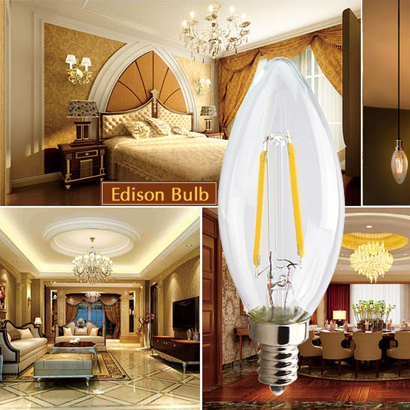 [MingBen] 4pcs LED Filament Bulb C35 G45 E14 220V 230V Retro Loft Style For Chandelier Crystal Light Warm White Ship form Spain
