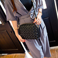 Bags 2016 Spring and Summer Women's Fashion Hobos Shell Solid Zipper Small Handbag Woven Messenger Women Bags Female