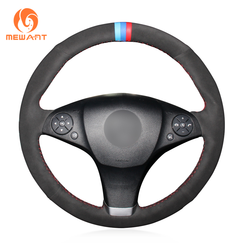 MEWANT Black Suede Car Steering Wheel Cover for Mercedes Benz C180 C200 C350 C300 CLS 280 300 350 500 GLK 300 2008-2010 car seat cover automobiles accessories for benz mercedes c180 c200 gl x164 ml w164 ml320 w163 w110 w114 w115 w124 t124