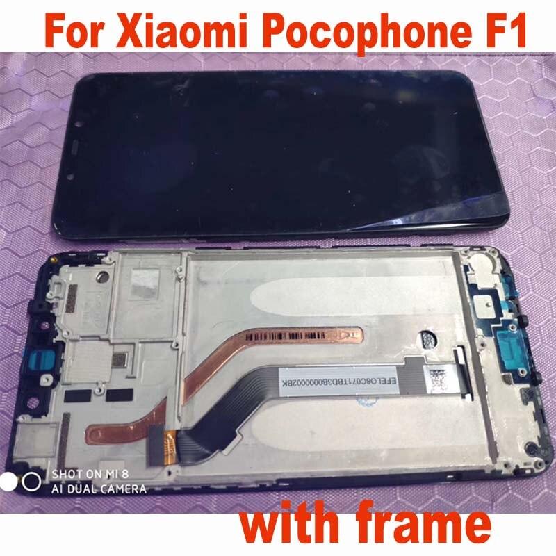 100% testé LCD pour Xiao mi Poco F1 mi Pocophone F1 écran tactile numériseur assemblée avec cadre Mobile de remplacement 6.18