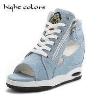Summer Cool Ladies Denim Side Zipper Open Toe Casual Shoes Fashion Cutout Wedges Heel Canvas Shoes