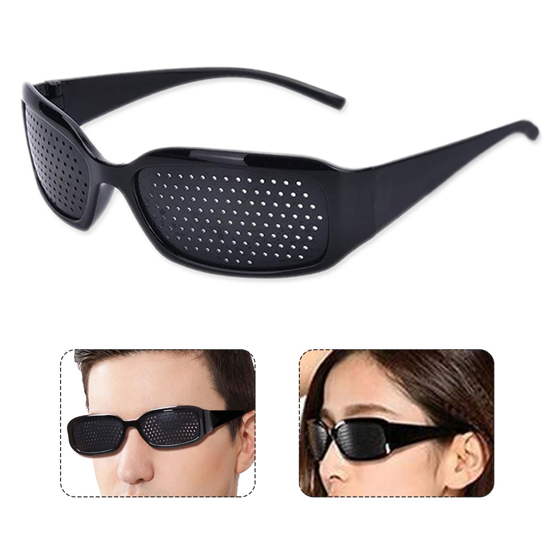 Hot Black Unisex Vision Care Pin hole Eyeglasses pinhole Glasses Eye Exercise Eyesight Improve Plastic Natural Healing Cheap