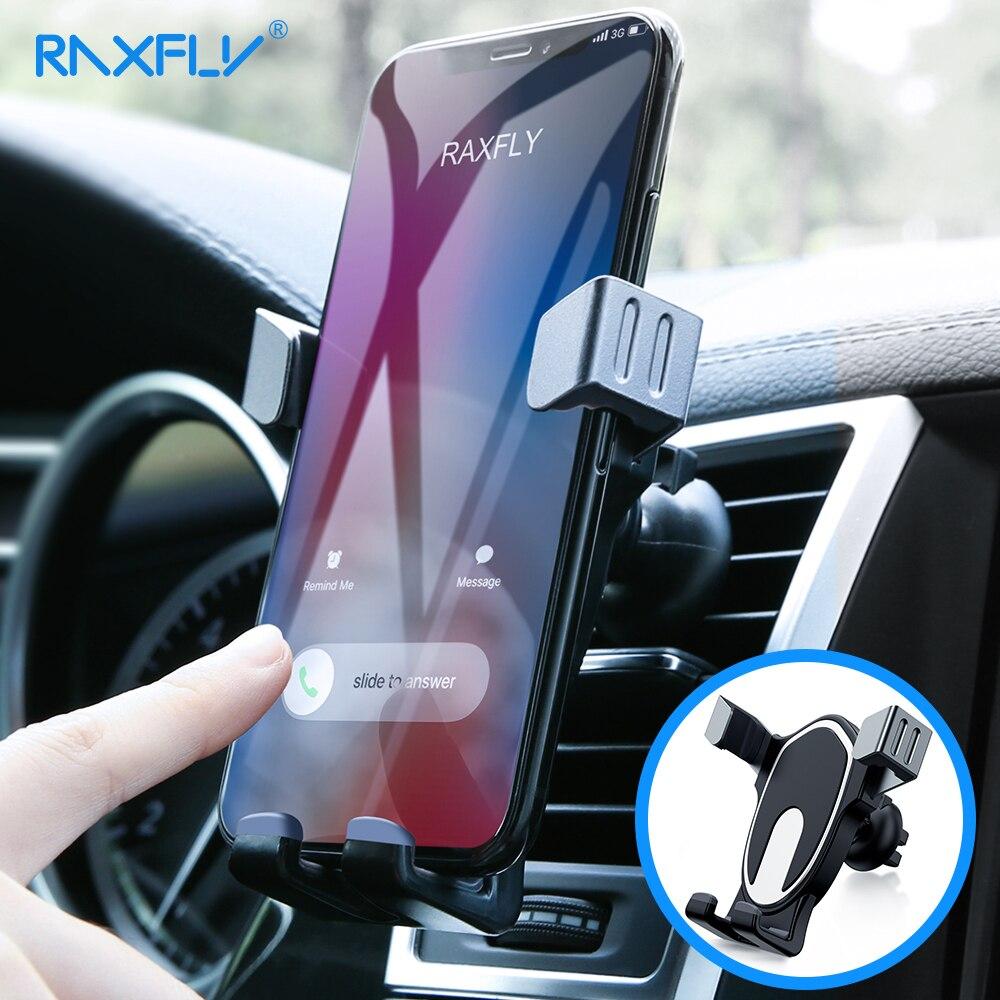 RAXFLY gravedad coche teléfono titular para Samsung Nota 9 S9 cerradura Auto del teléfono móvil del coche del sostenedor del teléfono soporte para el iPhone X XS XR Pocophone F1 soporte movil auto soporte para auto