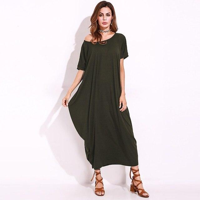 FLORHO Women One Off Shoulder Maxi Dress 2018 Summer Autumn Short Sleeve Shift Dress