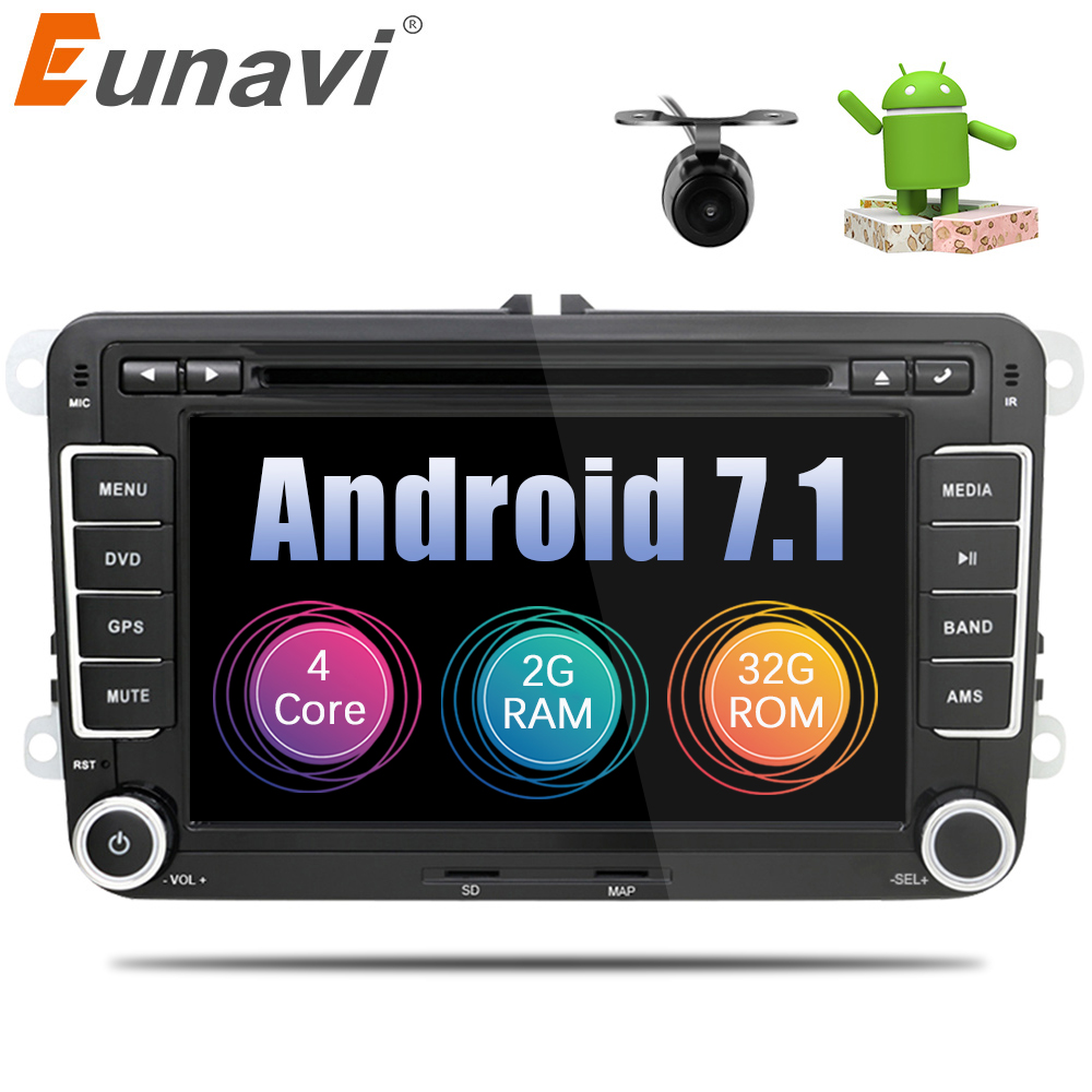 Eunavi 2 Din Android 7.1 8.1 Car DVD Player Radio GPS navigation For VW GOLF 6 Polo Bora JETTA B6 PASSAT Tiguan SKODA OCTAVIA