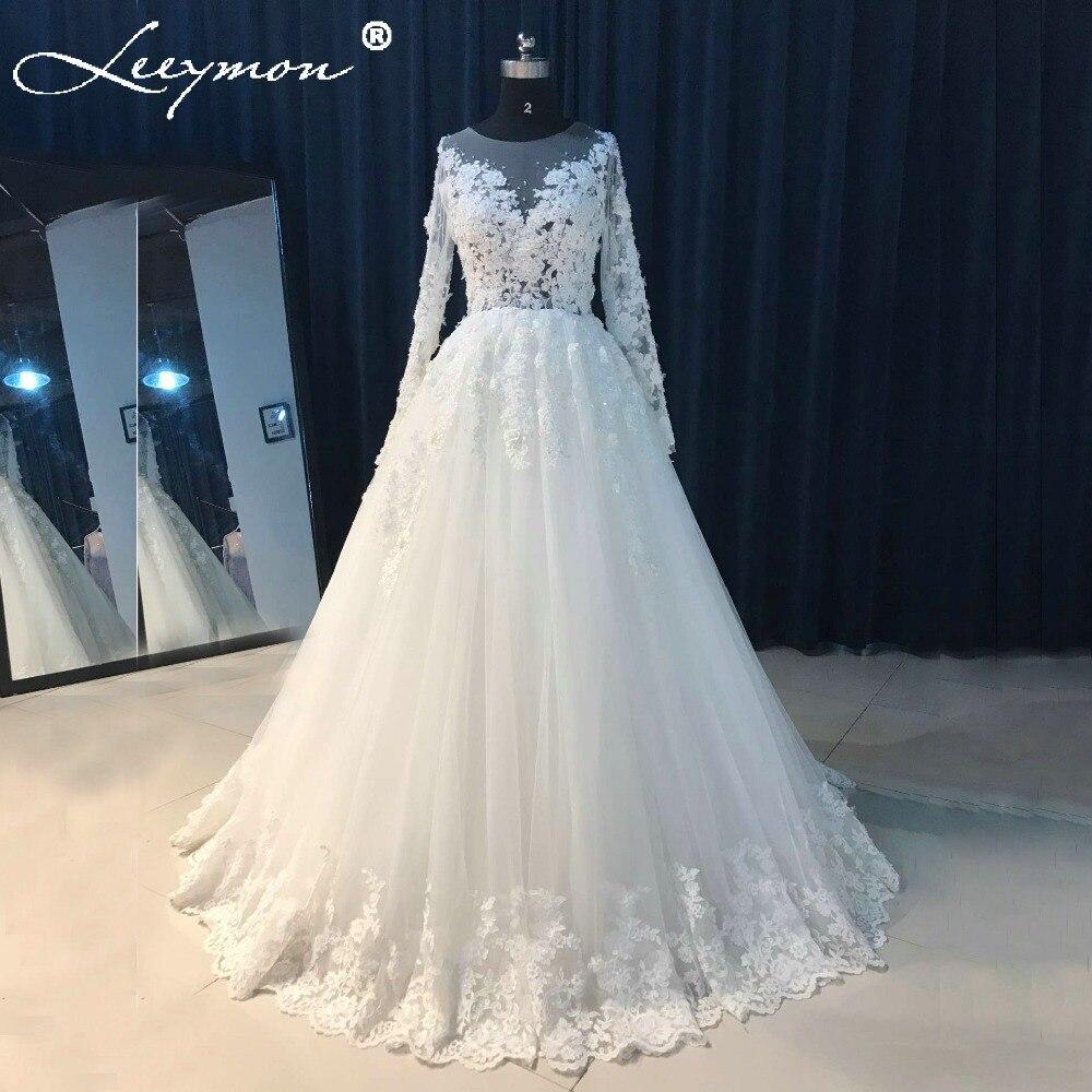 Verkliga bilder Röd bröllopsklänning med full ärm Beading Blommor Ansökningar Sexiga kvinnor Tjej Bröllopsklänningar Kappa 2018 kläder de mariee