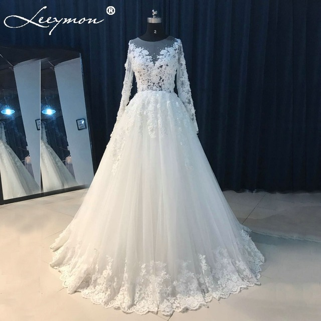 Real Pictures Red Wedding Dress Full Sleeves Beading Flowers ...