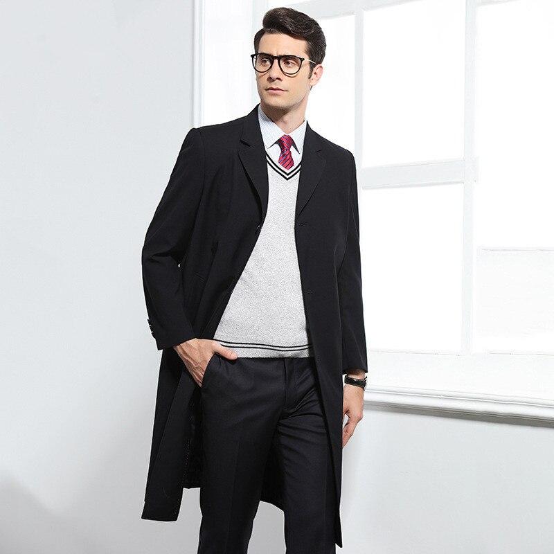 2018 automne Long style trench manteau hommes mode affaires décontracté coupe vent hommes de haute qualité manteaux hommes slim fit vestes - 5