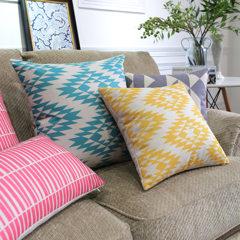 Scandinavian style Decorative Throw Pillows colorful geometric