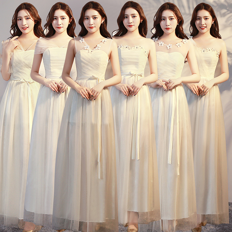 Vestido Azul Marino Gold Bridesmaid Dresses Ladies Wedding Guest Party  A-Line Sexy Junior Tulle Long Prom Dress Champagne