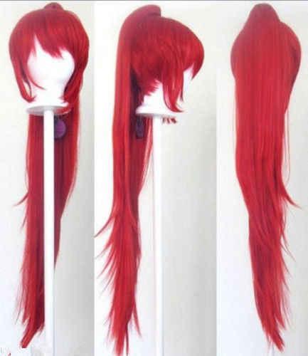 Волнистый хвост клип красный парик для косплея 40 ''AAAAAA Бесплатная доставка