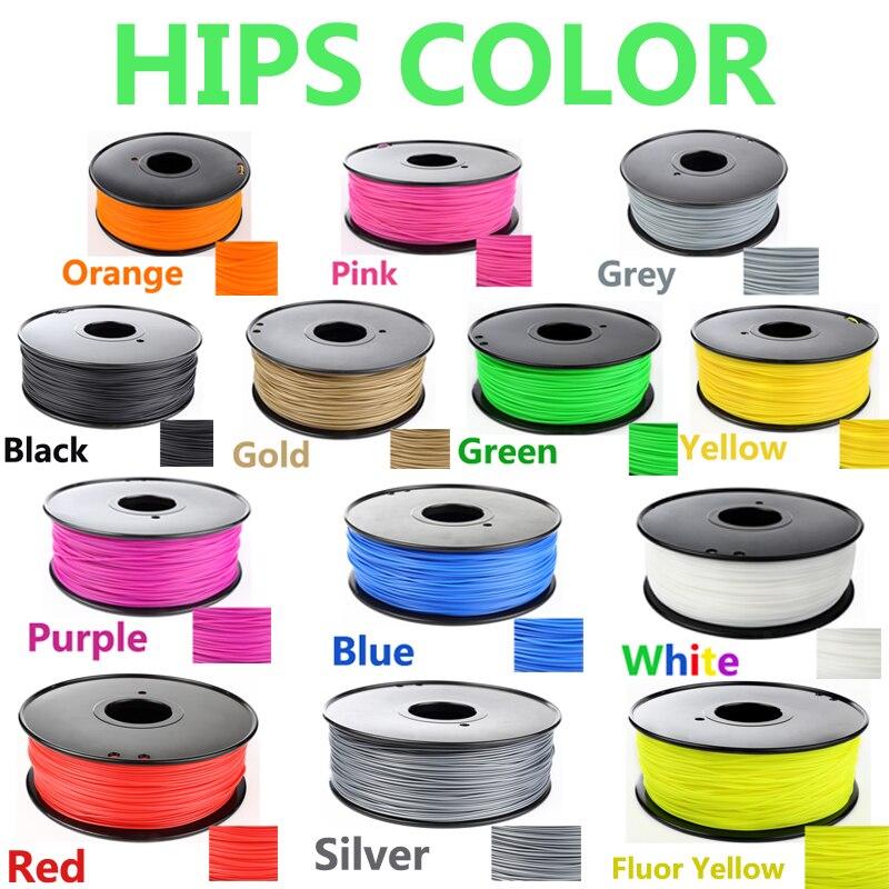 Hohe Qualität 3d HIPS filament 1,75mm 1kg 3d drucker filament 1 KG HÜFTEN 3d kunststoff filament Niedrigen kosten, weniger geruch als ABS xp stift
