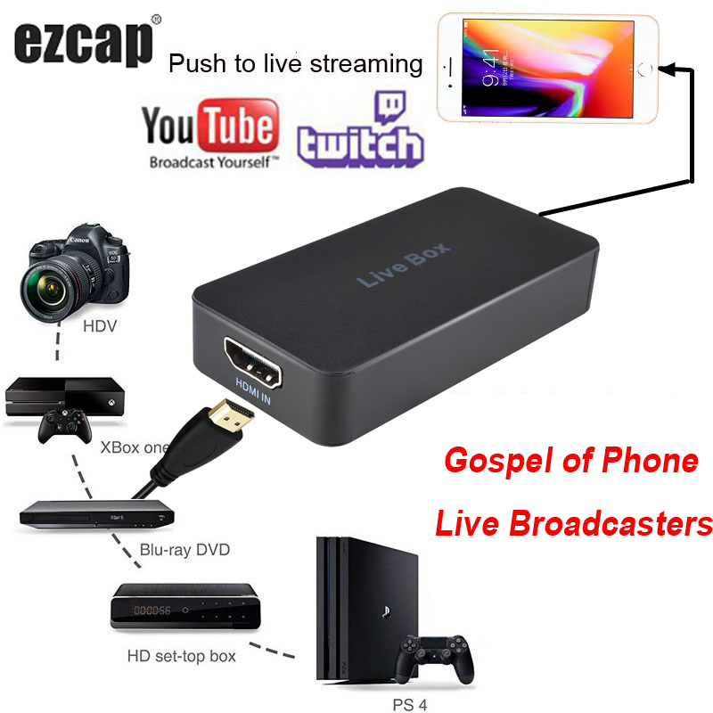Mobile Phone Live Broadcast Streaming Box Game Record Video Capture Card For IPhone IOS Android HDMI PS4 XBOX TV STB Camera SLR