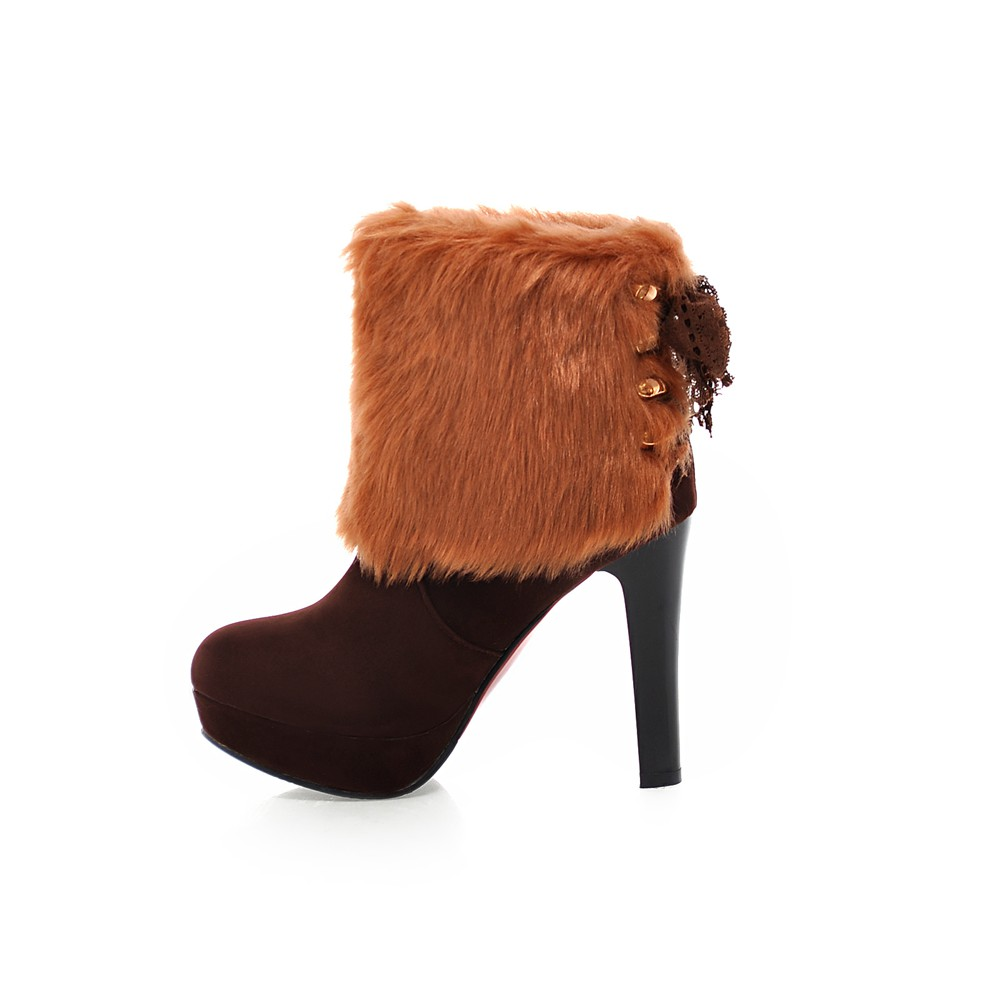 Brand New Winter Sale Sexy Black Red Brown Women Platform Ankle Fur Boots Lady Riding Shoes High Heel EHA01 Plus Big size 10 43 сарафан baon цвет ментоловый b467007 amazonite размер l 48