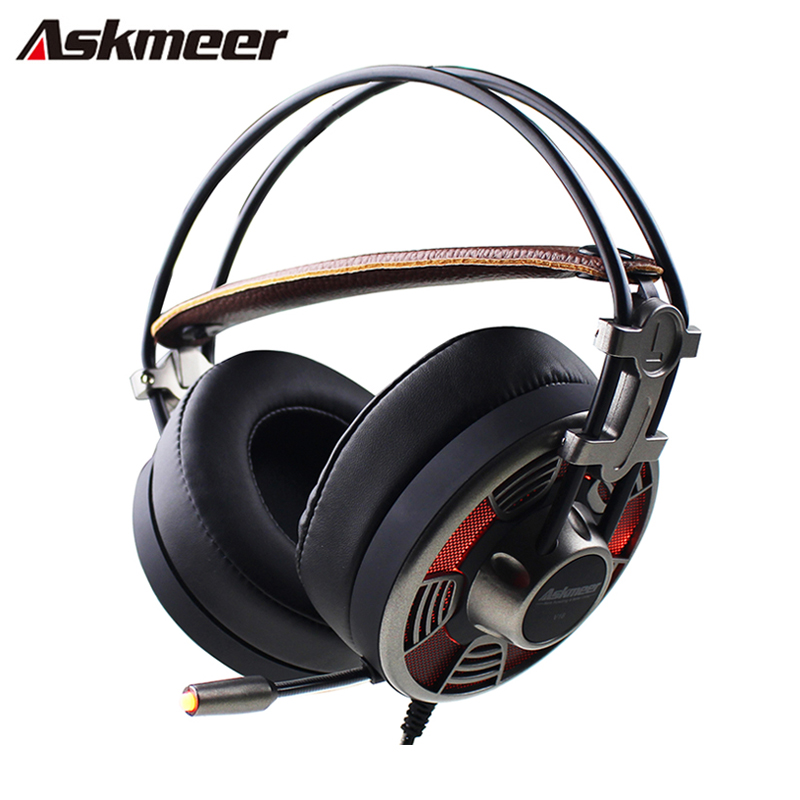 Askmeer V16 PC Gamer Computer Gaming Headset Super Big Earmuffs Stereo USB Plug Gaming Headphones With Mic Led Noise Cancelling hands free headphones usb plug monaural headset call center computer customer service headset for pc telephone laptop skype chat