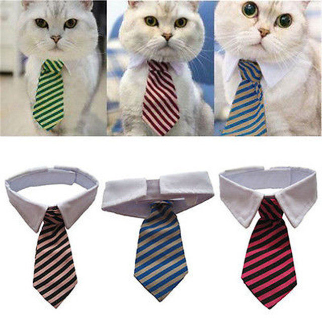 Dog Grooming Cat Striped Bow Tie Animal Bowtie Collar Pet Adjule Neck White