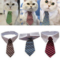 Dog Grooming Cat Striped Bow Tie Collar Pet Adjustable Neck Tie White Collar Dog Necktie Party Wedding Gravata Cachorro