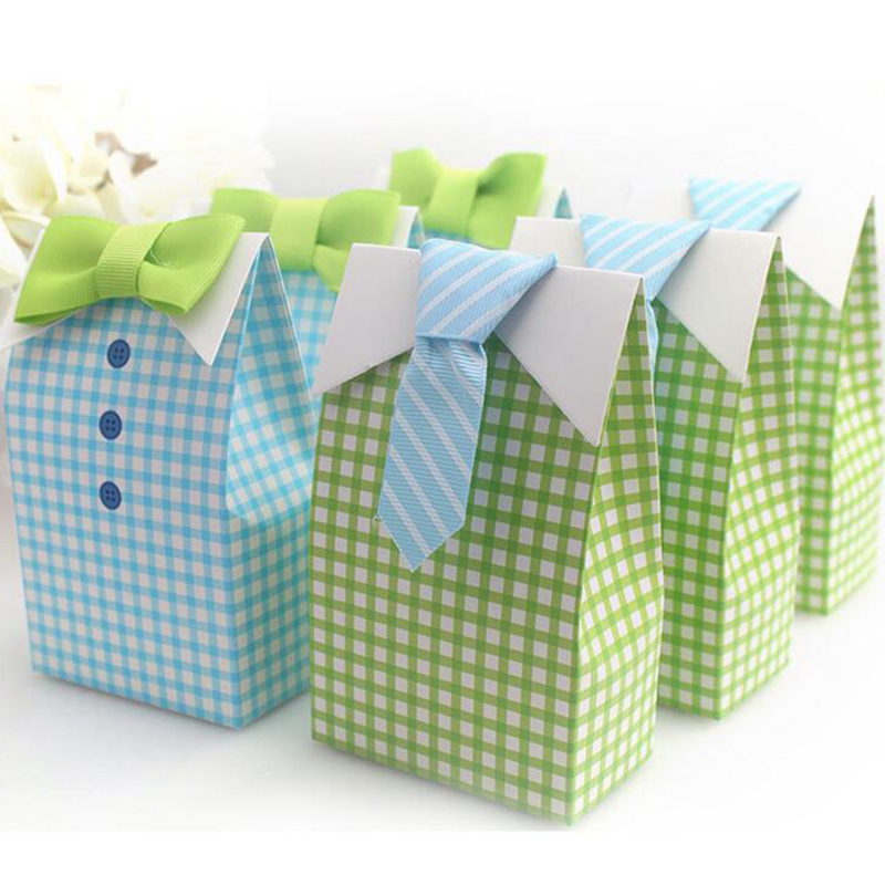 AVEBIEN Tie Paper Candy Box My Little Man Blue Bow First Communion Baby Shower Candy Box Wedding Decoration Favor gift Bag 20pcs