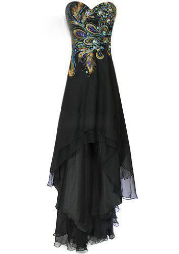Black applique prom dress exquisite embroidery Phoenix tail sweetheart neck line chiffon bridesmaid dress beach dress XL