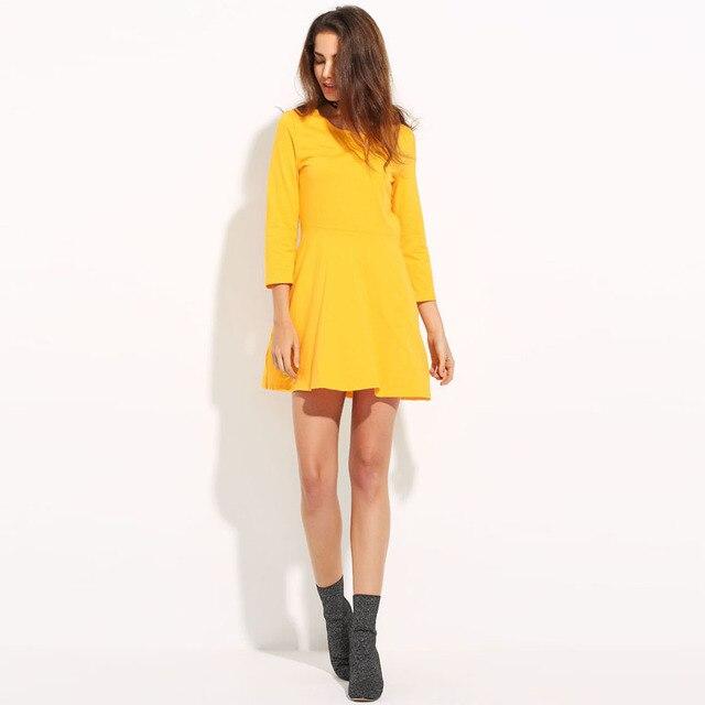 MY MAYAASOS Spring Dress 2017 Back Cut Up Yellow Dress Women Long Sleeve  Tunic Mini Dress O Neck Short Casual Vestido De Festa a4af9d104