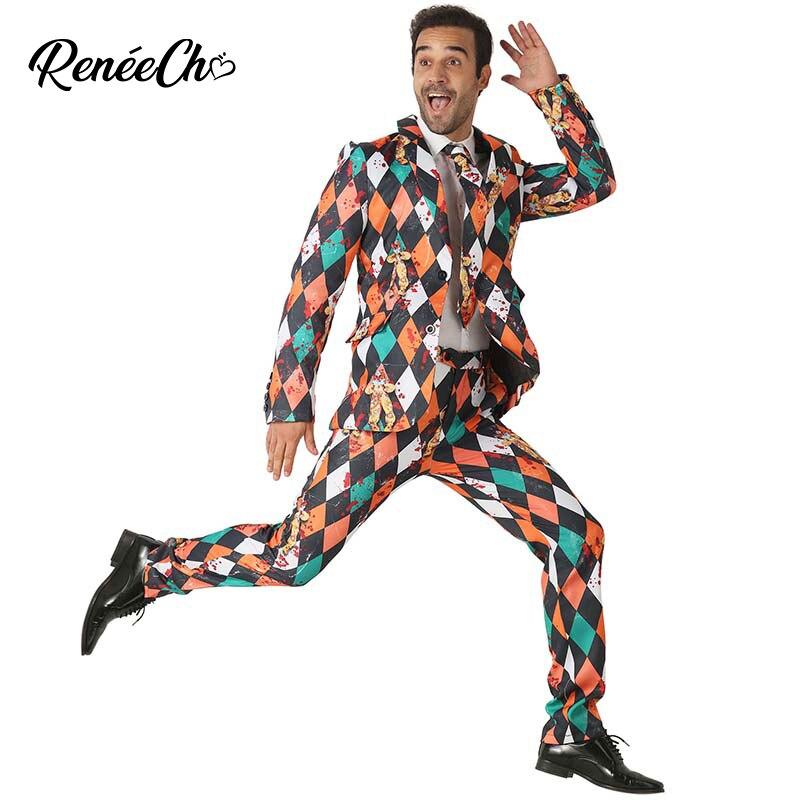 2018 disfraz Halloween Men`s Scary Clown Costume Suit Adult bloody Vampire Costume blazer hombre slim fit Jacket Pants Tie Set
