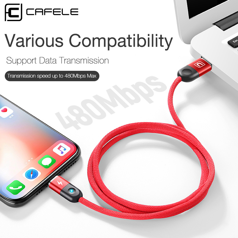 CAFELE LED Magnetic cable for iphone Samsung Huawei Xiaomi Data Sync USB Cable for IOS Micro type c usb port 2A charger cables in Mobile Phone Cables from Cellphones Telecommunications