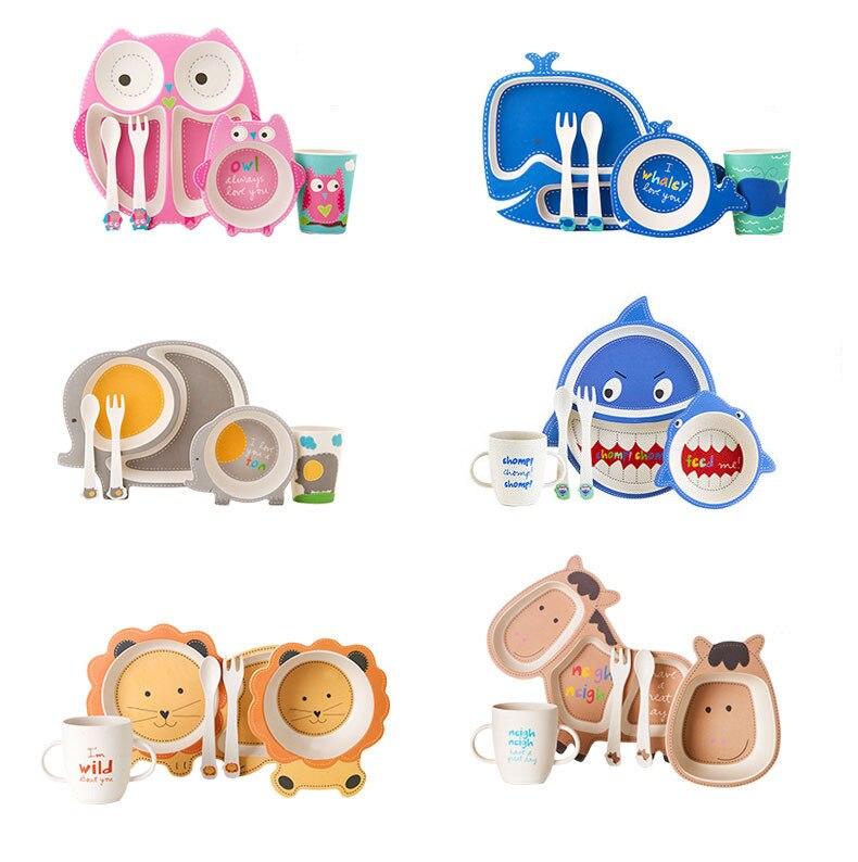 5 pièces/ensemble dessin animé bébé alimentation plats ensemble fibre de bambou santé environnement enfants vaisselle ensembles bébé choses bouteilles sans BPA