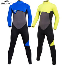 SBART 2MM Neoprene Wetsuits Kids Swimwears Diving Suits Long Sleeved Boys Girls Surfing Rash Guards Snorkel One Piece Suit цена и фото