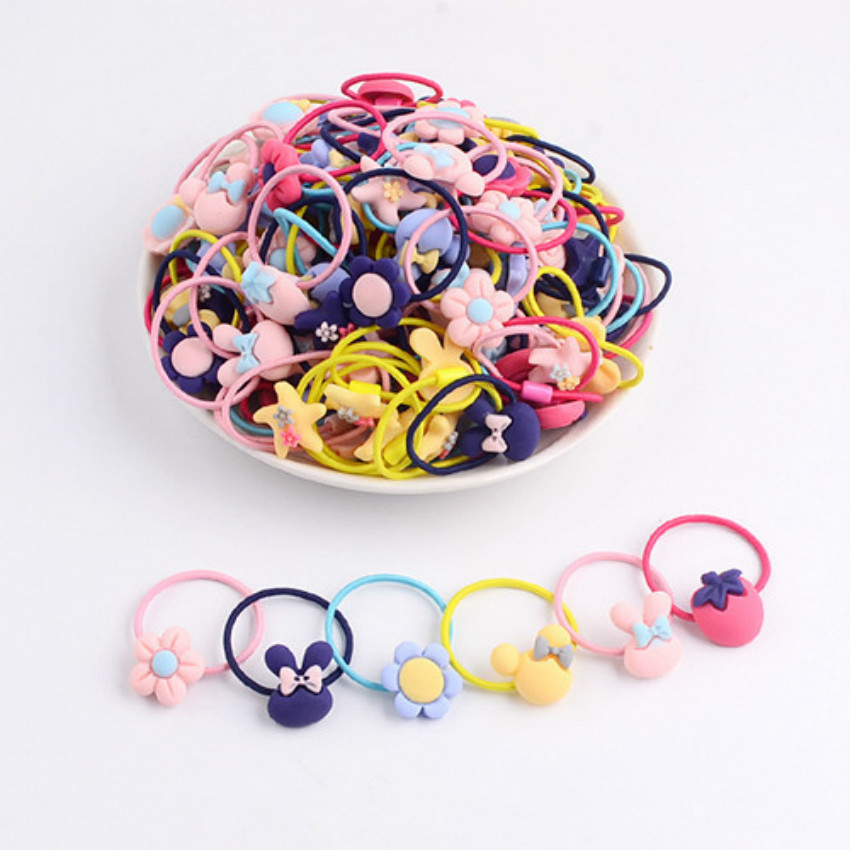 10pcs/set Random Color Girl Elastic Hair Bands Hair Accessories for Kids Girl Dia 3cm Cute   Headwear   Ponytal Braid
