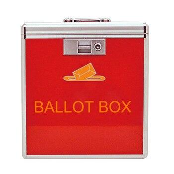 Aluminum Portable Red Ballot Vote Box with Lock Medium Size B093 Desktop Aluminum Light Weight Vote Box for Multi Functional Use