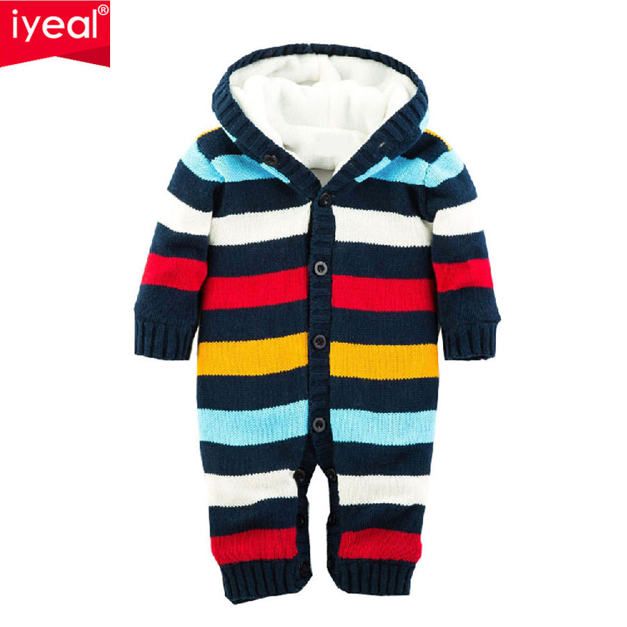 IYEAL Baby Rompers Thickened Winter Striped Knitted Sweater Warm Jumpsuit for Baby Girl Boy Hooded Outwear Kids Newborn Clothes 2017 new baby rompers winter thick warm baby girl boy clothing long sleeve hooded jumpsuit kids newborn outwear for 1 3t