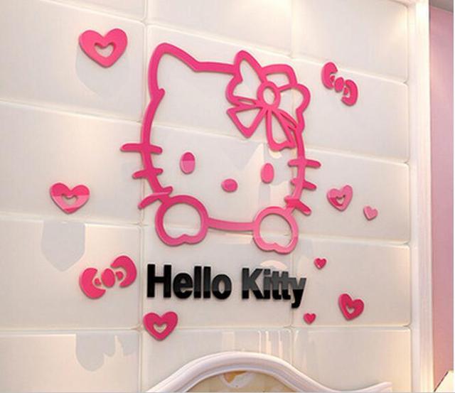 DIY Ciao kitty 3D stereoscopico adesivi murali per camere dei ...