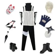Brdwn Naruto Unisex Konoha Anbu Kakashi Cosplay Costume Full set suit (Mask+Shoes+Kunai+Clothes)
