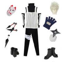 Brdwn Naruto Unisex Konoha Anbu Kakashi Cosplay Kostüm Full set anzug (Maske + Schuhe + Kunai + Kleidung)