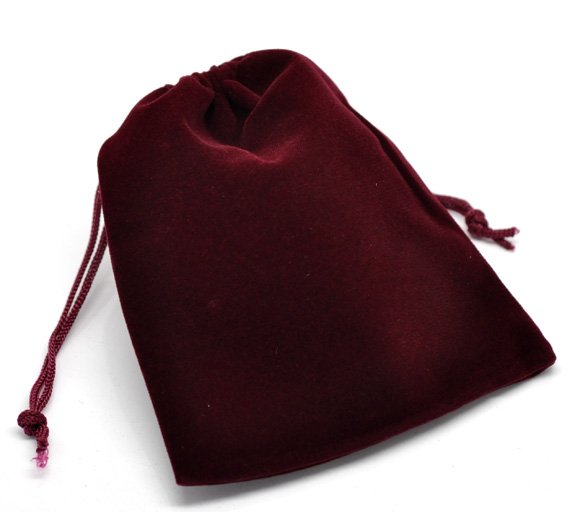 Velveteen Velvet Bags Rectangle Dark Red 12cm X10cm(4 6/8