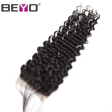Beyo Brazilian Deep Wave Lace Closure With Baby Hair 100% Human Hair 4 x4 Non-Remy Hair Nature Color Free Shipping