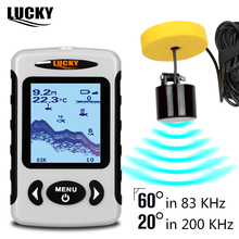 LUCKY FF718D Portable Fish Finder Dual Sonar Frequency 200KHz/83KHz 100M Detection Muti-language Fishfinder for ICE Fishing