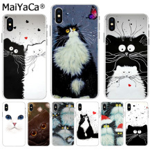 MaiYaCa Art of black and white cat Newest Super Cute Phone Cases for Apple iPhon
