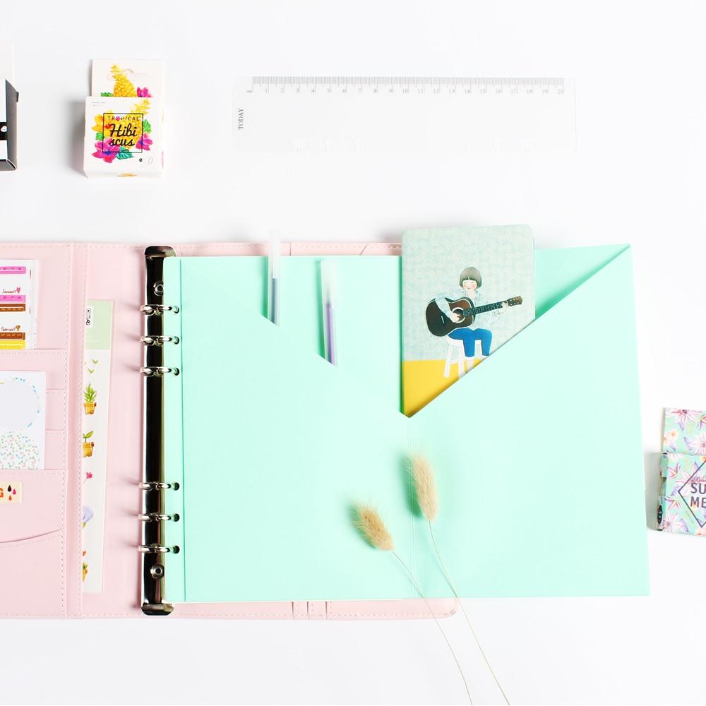Original creative 6 holes spiral notebook craft inside pocket,cute student notebook stationery organizer inside pouch gift A5 A6 стоимость