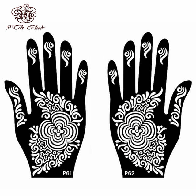 6 Pair New Henna Tattoo Stencil Template,Left Right Large