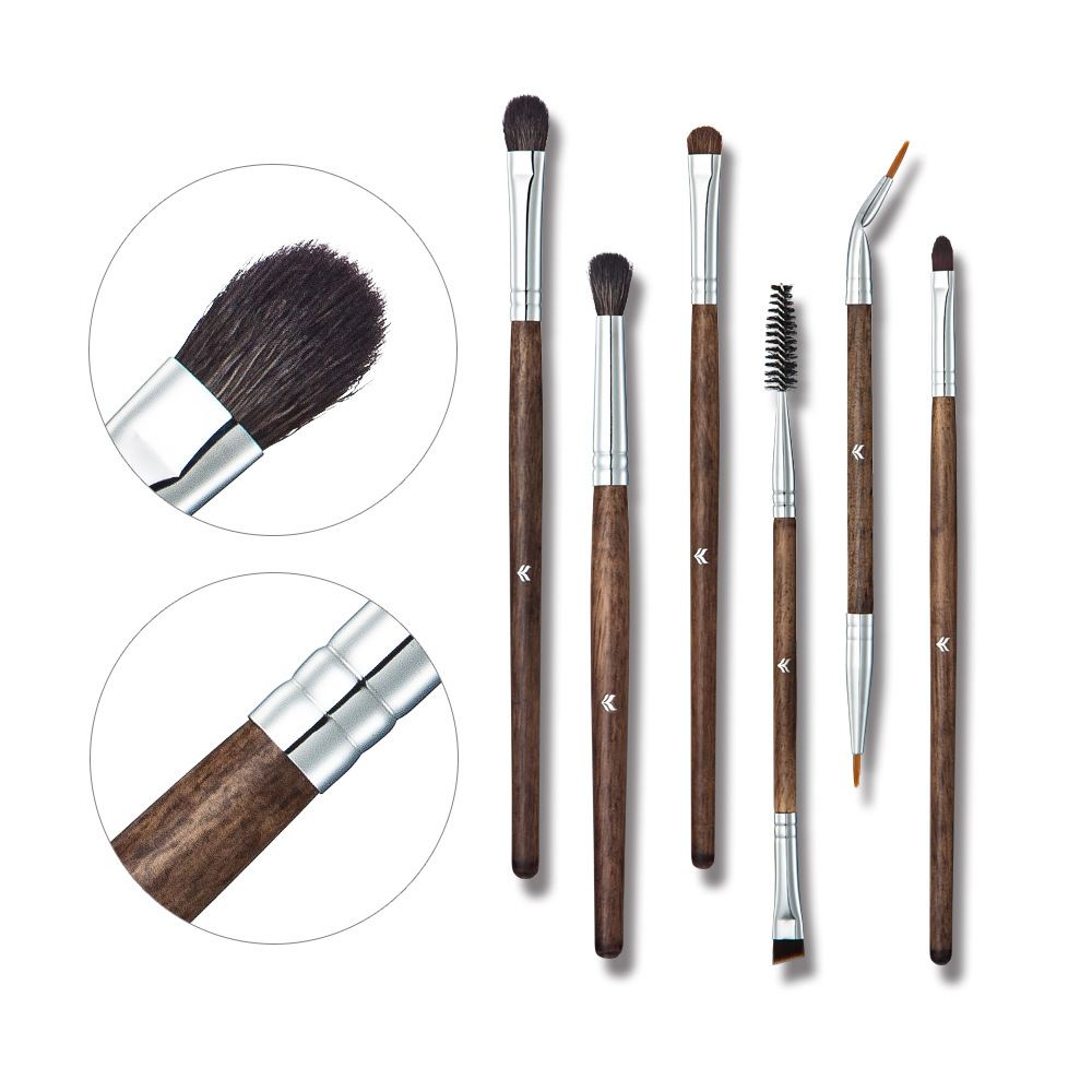 HUAMIANLI Cosmetic Brush Set High-grade Solid Wood Handle Animal Wool Slender Smooth Fit Skin Easy To Operate 6 Makeup Brush 500g cosmetic grade 99