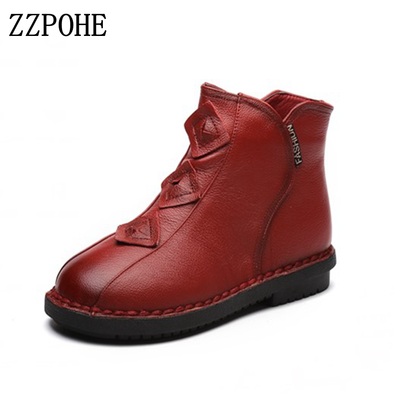 ZZPOHE Winter Snow Boots Women Genuine Leather Flat Ankle Boots Woman Casual Comfortable Handmade Warm Shoes Mother cotton shoes new 2015 original warm snow boots women plush winter ankle boots comfortable lady flame design casual australia flat shoes