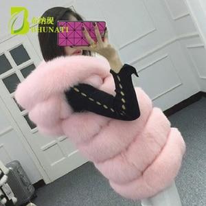 Image 5 - BHUNATI Fashion New Faux Fur Vest Women Hooded Medium long Vertical Solid Color Stripe Coat Artificial Fox Fur Large Size Jacket
