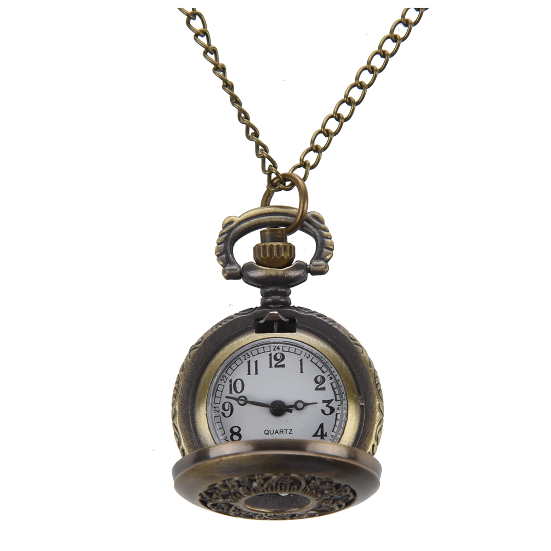 Practical SODIAL(R) Hunter Case Necklace Pocket Watch Bronze Tone For Ladies