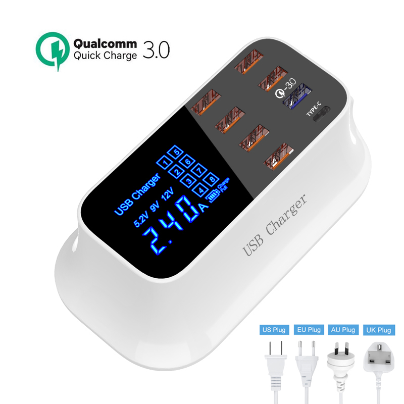 Led Display Quick Charge 3.0 Smart USB Type C Charger Station Fast Charging Phone Tablet USB Charger For iPhone Samsung Huawei