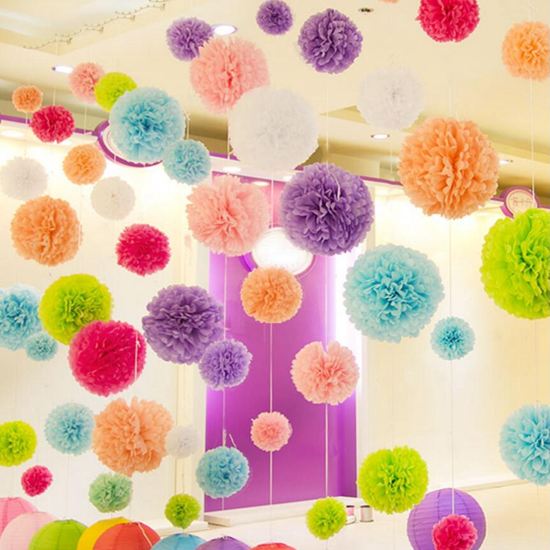 party 5pcs 8 inches 20cm Artificial flowers Tissue Paper Pom Poms Paper Flowers Ball pompom wedding Birthday Decoration Parties